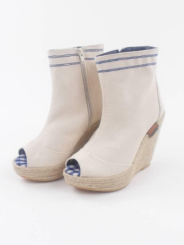 Pepe Jeans botines de cuña zapatos irn-250 a blancoo con cuña Canvas