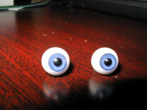 12mm Glass DOLL Eyes BLUE Finest Quality UK Hand Glass NEW OLD STOCK