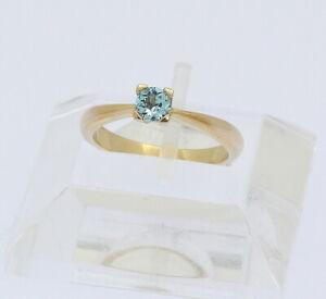 Ring-in-14-kt-14k-585er-Gelb-Gold-mit-Blautopas-Topas-Topasring-Goldring-Gr-51