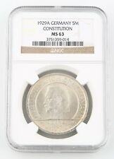 1929-A Germany 5 Reichsmark Silver Coin MS-63 NGC Weimar Constitution KM-64