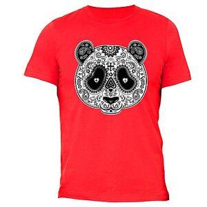 PANDA-Sugar-Skull-SHIRT-Day-of-the-Dead-Dia-Los-muertos-Mexico-T-SHIRT-tee-Red
