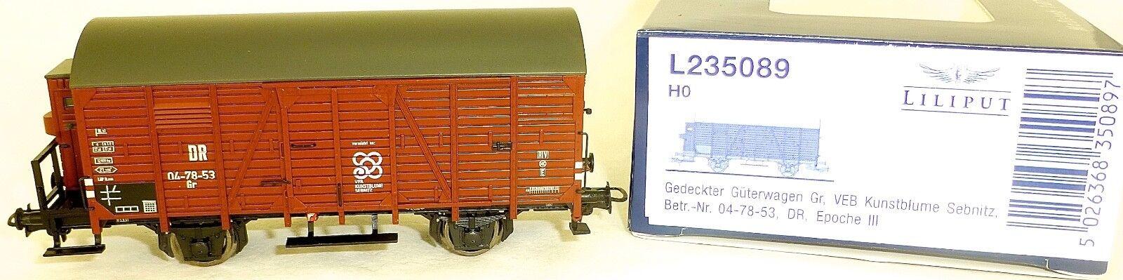 VEB Kunstblueme geschlossener Güterwagen DR Liliput L235089 H0 1 87 OVP KC2 å