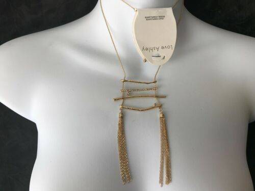 CAPIZ GORGEOUS LONG GOLD TWIG BAR DIAMANTE STUDDED TASSEL FEATURE CHIC NECKLACE