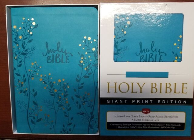 NKJV Holy Bible Giant Print Aqua With Trees & Gold Berries on Cover