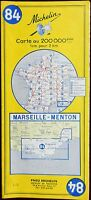 MICHELIN FRANCE 1966 COLOURED PAPER MAP of MARSEILLE-MENTON No 84 1:200 000