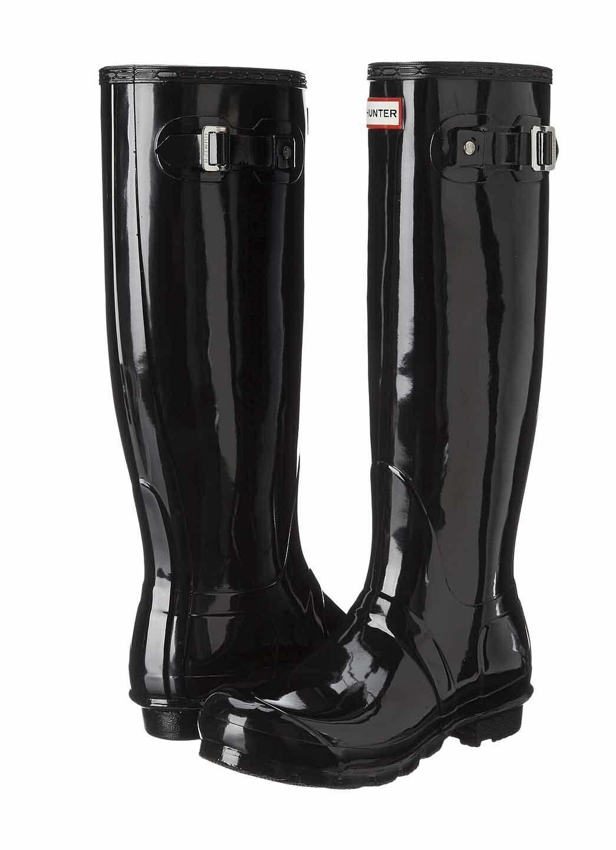 Hunter Original Tall Wellington Welly nero Gloss stivali WFT1000RGL US 10 NIB