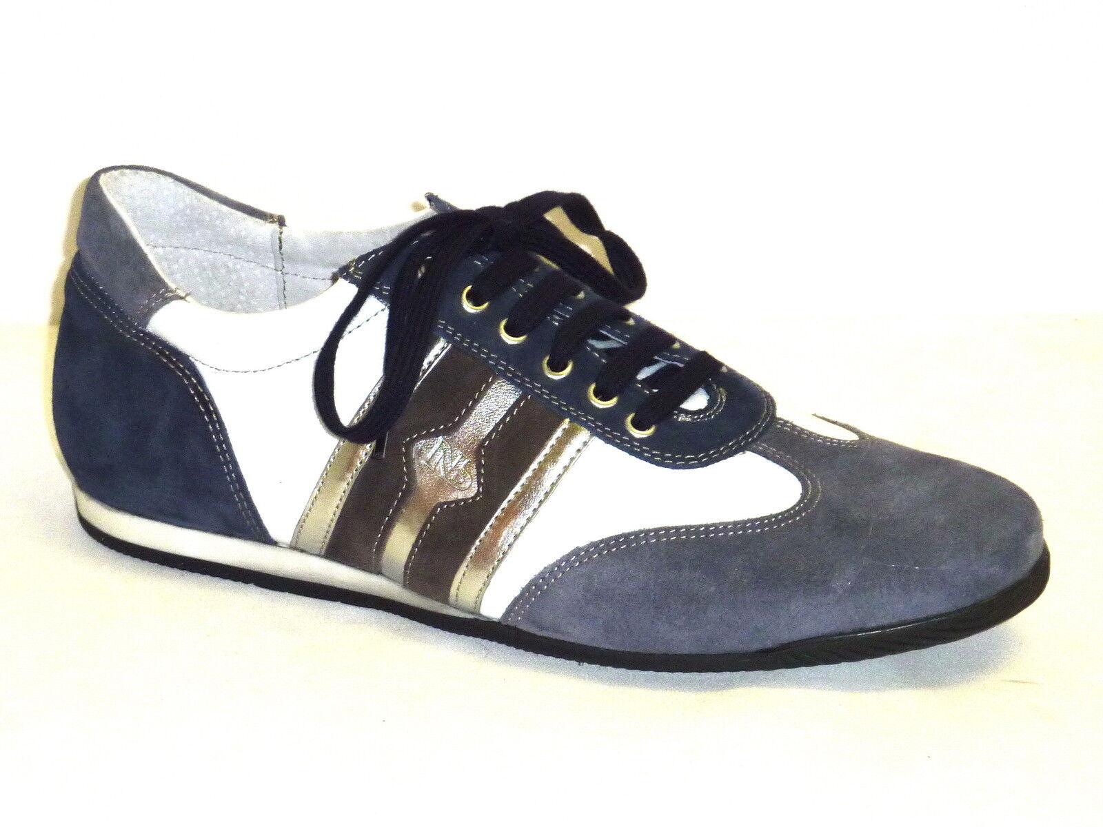 Chaussures hommes CASUAL TENNIS SPORTIVE ALLACCIATE IN PELLE BIANCO bleu n. 43