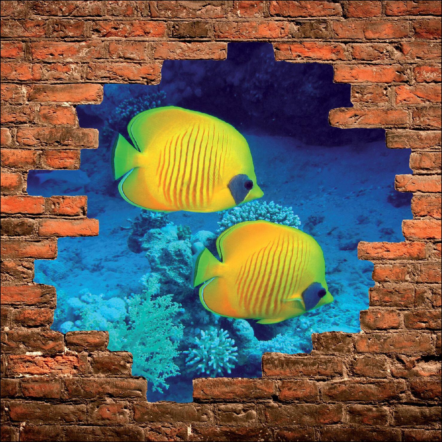 Sticker mural trompe l'oeil mur de pierre déco Poisson tropicaux  réf 894