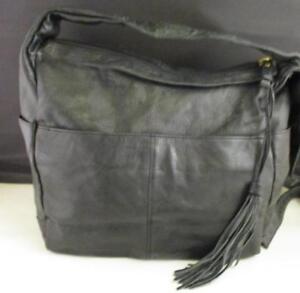 0bf3936a44 Image is loading EUC-Stone-Mountain-Handbag-Purse-Black-Leather-Outside-