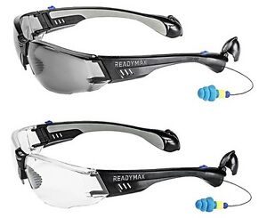 485077f9dd7 Image is loading ReadyMax-Construction-Outdoor-Safety-Glasses-with-Earplugs -Eye-