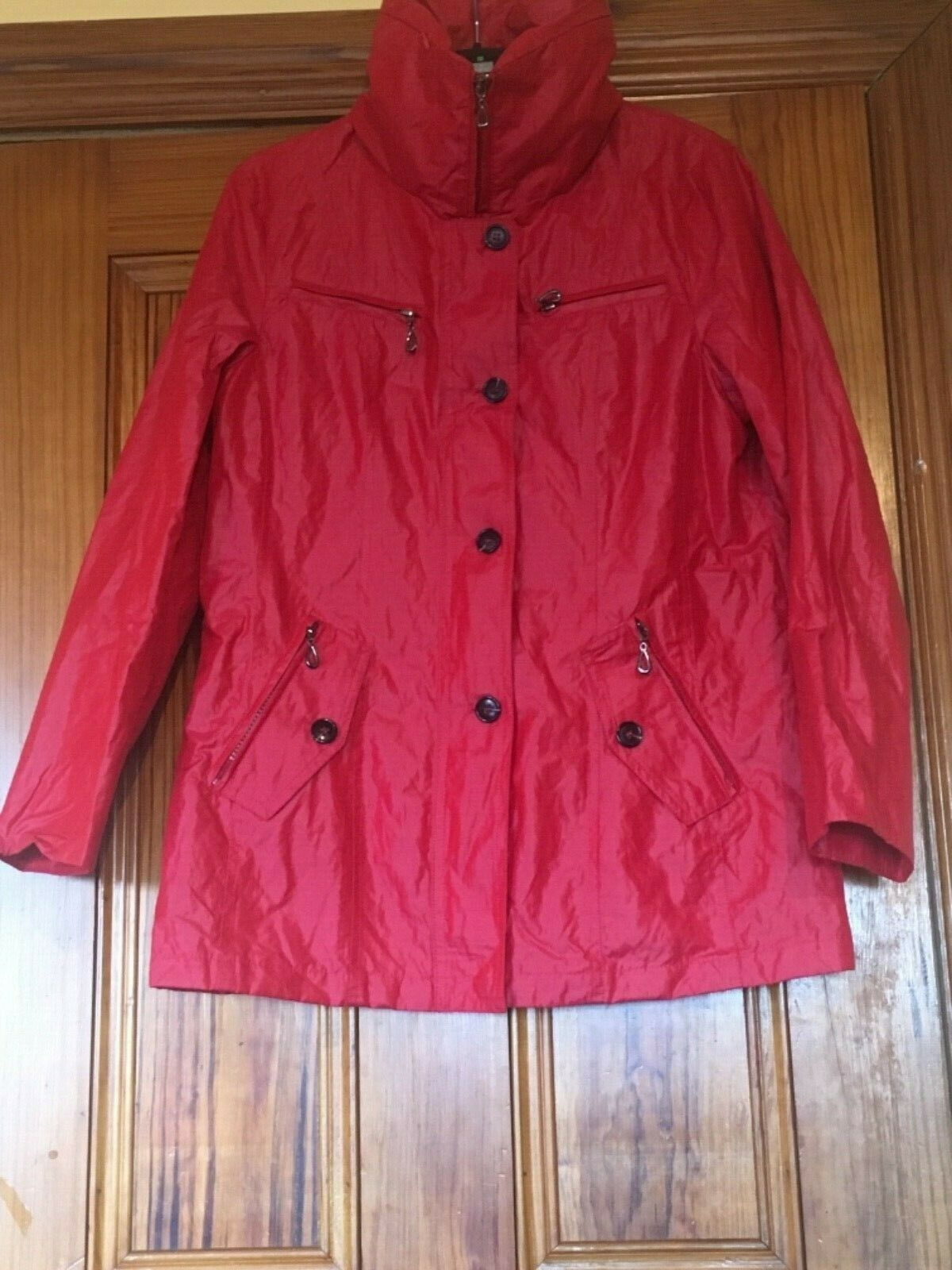 First Avenue Size 12 Red Coat with High Feature Zip Up Collar and 5 Pockets