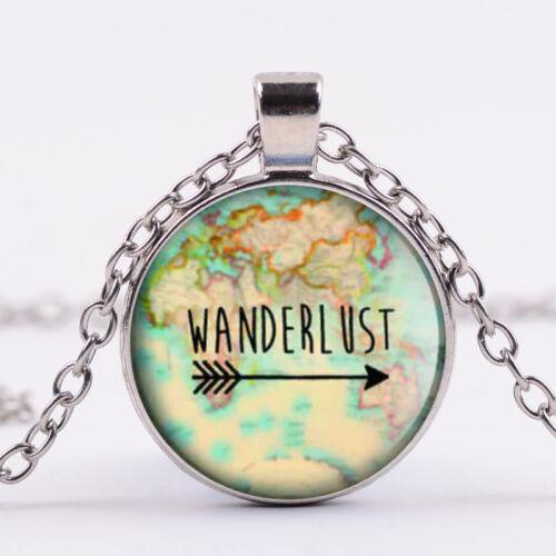 Weltkarte Reisen Wanderlust silber bronze Damen Geschenk Anhänger Halskette