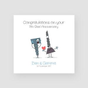 Personalizzato-FATTO-A-MANO-IN-ACCIAIO-11th-Anniversario-Di-Matrimonio-Card-Settimo-Divertente