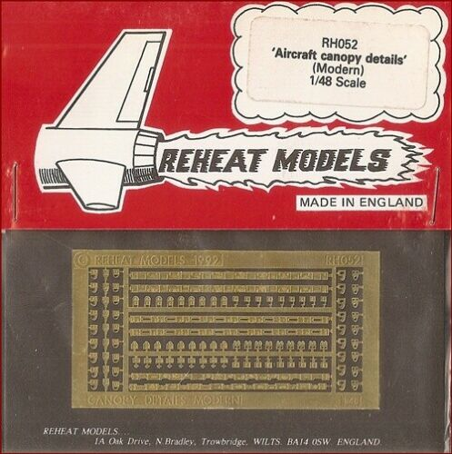 Reheat Models Photo-Etch Modern Aircraft Canopy Details for 1//48 Scale Model Kit