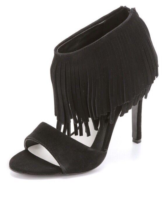 Alice Olivia Gulia Black High Heel OpenToe Suede formal club dance Tassels 8.5 M