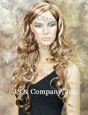 Strawberry BLONDE mix Hair  LONG spiral Wavy curly WIG JSOB 27-613