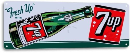 7-up Fresh Up Bottle Vintage Retro Tin Metal Sign