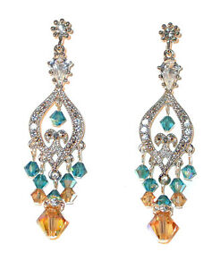 SWAROVSKI-Elements-CRYSTAL-Chandelier-Earrings-Silver-TEAL-LIGHT-COLORADO-TOPAZ