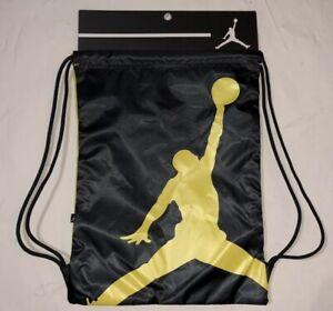 d0d3c5e3087b Nike Air Jordan Jumpman Drawstring Gym Sack Bag Yellow Black NEW ...