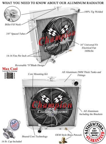 "1966-73 Mercury Comet 3 Row DR Champion Radiator 1 x 16/"" Fan Combo"