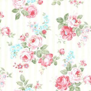 Cottage-Shabby-Chic-Lecien-Princess-Rose-Floral-31264L-10-w-Cream-Stripe-BTY