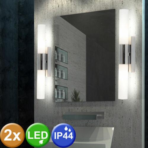 2x LED pared de vidrio lámparas cuarto de invitados up down emisor cromo espejo luminarias
