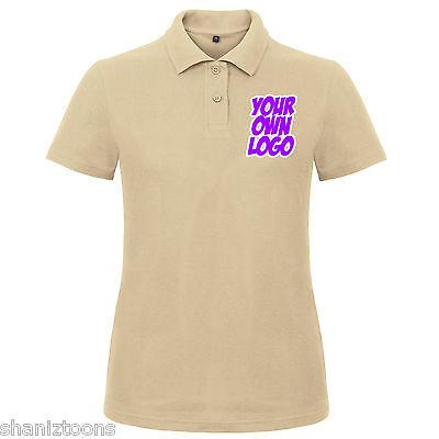 Ladies Womens Sand Polo T Shirt Bulk Buy x3 Personalised Design Text Logo