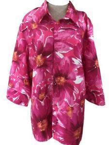 Tiramisu top blouse size 1X bold pink floral 3/4 sleeve over jacket USA made