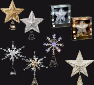 Christmas-XMAS-Tree-Topper-Jeweled-Star-Snow-Flake-Glitter-LED-Light-Champagn