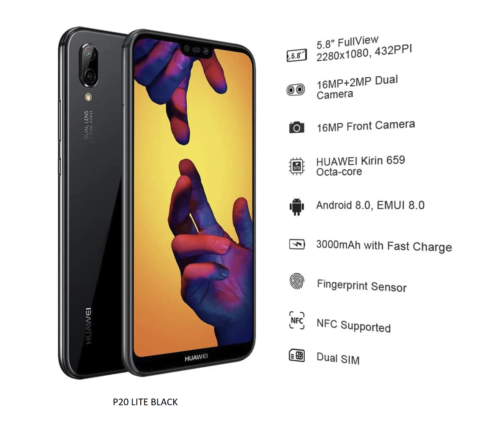 Huawei P20 lite   20GB   Midnight Black Unlocked Single Sim ...