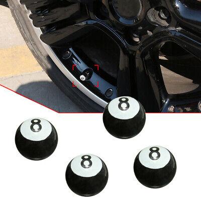 4x Black 8 Ball Car Bike Motorcycle BMX Wheel Tyre Valve Plastic Dust Caps