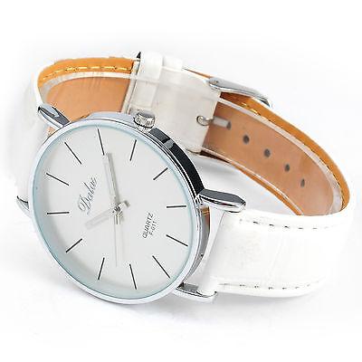 DALAS Fashion Women's White Leather Analog Quartz Lady Girl Dress Wrist Watch