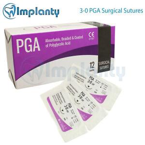3-0-geflochtene-resorbierbare-PGA-chirurgisches-Dental-Medical-Wunde-12pcs-box