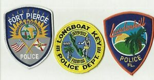 Lauderhill-Longboat-Key-Fort-Pierce-FLORIDA-Police-Patches-USED