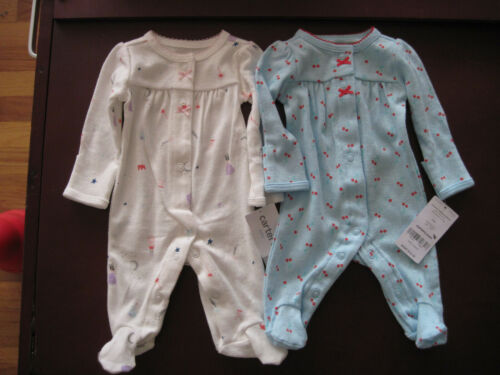 Lot of 2 Carter/'s Baby Girl size NB Newborn SLEEP N PLAY Princess /& Cherries NWT