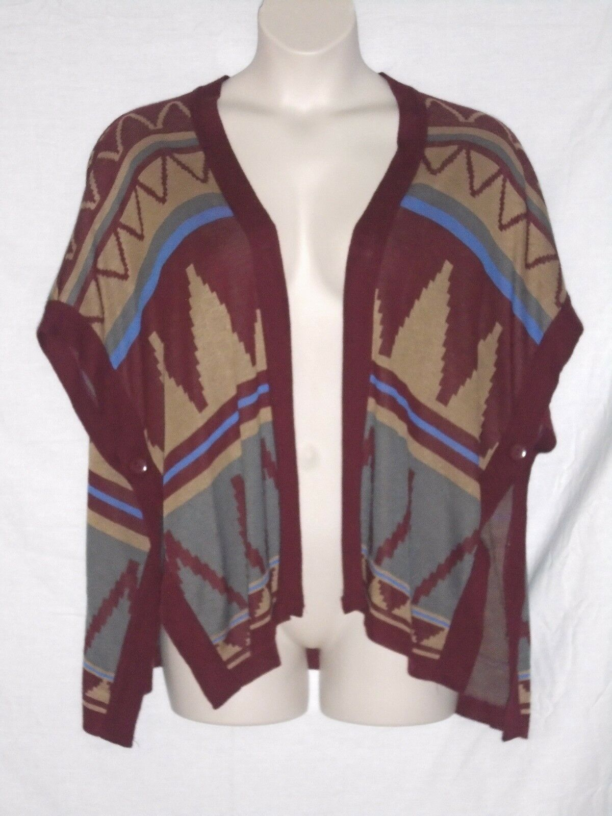 SWEATER TOP – OPEN FRONT & SIDES – SOUTHWEST   AZTEC – SIZE MEDIUM – NEW  59