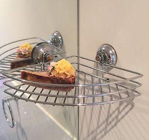2xeasy Diy Mount Super Suction Shower Caddy Chrome Bathroom Storage