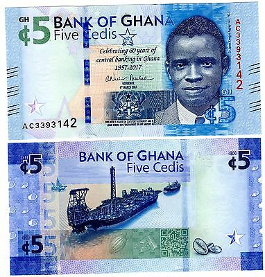 Africa 60th Nouveau Neu Aggrey Schiff Neu Unc Purposeful Ghana Geldschein 5 Cedis 2017 Gedenk Paper Money: World