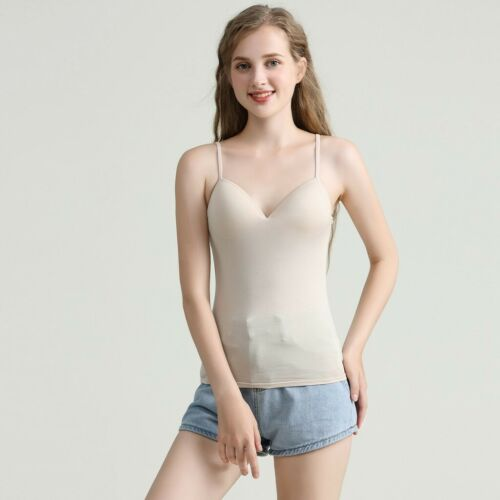 Women Girls V Neck Camisole Tank Tops Padded Push Up Built in Bra Cami Vest Top