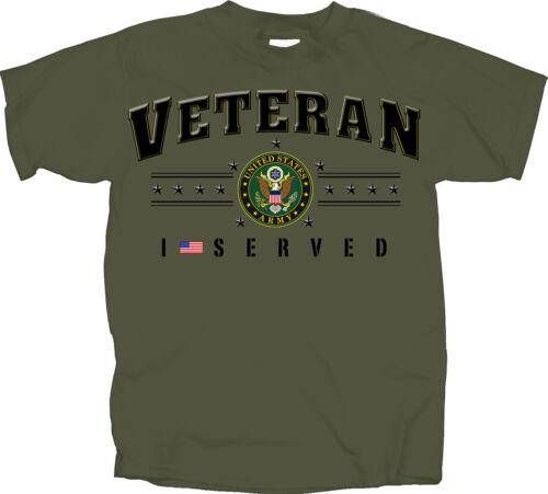MILITARY U.S ARMY VETERAN I SERVED ADULT MEN/'S MILITARY GREEN COTTON TEE SHIRT