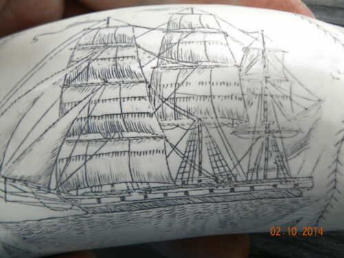"""SCRIMSHAW  WHALE TOOTH RESIN  REPLICA THE /""""COMET/"""""""