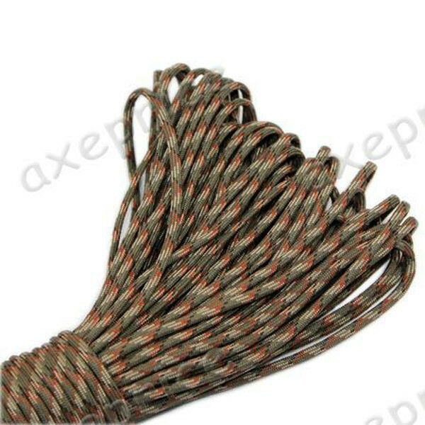 Woodland camo Parachute Cord Paracord 550 7 core Strand 100FT camping tent rope