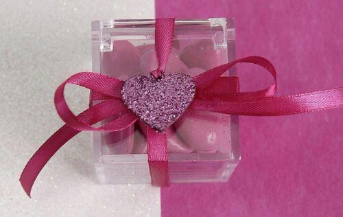 12 COEURS 2,2cm Paillettes Fuschia Décoration Mariage Baptême Confettis neuf