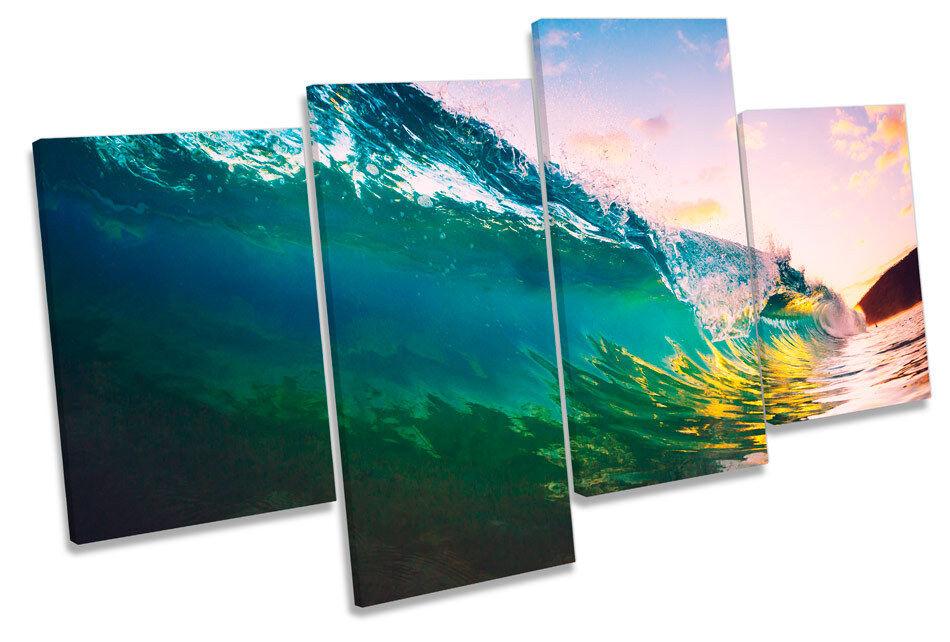Ocean Beach Wave Sunset  MULTI CANVAS WALL ART Picture Print