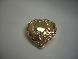 ESTEE LAUDER FULL POWDER COMPACT LUCIDITY PINK RIBBON HEART SPARKLY