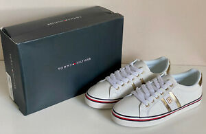 NEW-TOMMY-HILFIGER-FENTII-WOMEN-039-S-WHITE-LACE-UP-SNEAKERS-SHOES-8-38-5-SALE
