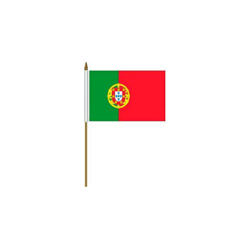 """PORTUGAL COUNTRY SMALL 4 X 6  MINI STICK FLAG WITH 10/"""" PLASTIC POLE"""