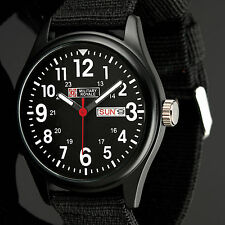 Date Week Luminous Dial Black Fabric Mens Man Outdoor Quartz Wrist Watch Gift