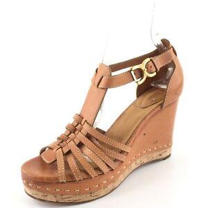 34a31ab69260b0 Image is loading Chloe-Brown-Leather-Platform-Cork-Wedge-Sandals-Women-