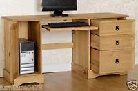Solid Pine 3 Drawers 1 Door Computer Desk W145cm X D48cm X H75cm Corona